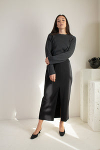 Vintage black wool blend long slit front skirt // L (1559)