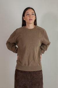 Vintage light brown cotton crewneck sweater // XL (1439)