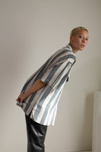 Load image into Gallery viewer, Vintage 90s gray and cream striped linen blend short sleeve shirt // XXL (1620)