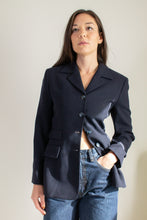 Load image into Gallery viewer, Vintage navy blue wool blazer // S (830)