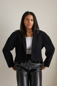 Vintage black wool and cashmere blend cropped jacket // S (1602)
