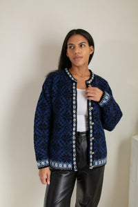 Vintage blue and black wool blend patterned cardigan // L (1792)