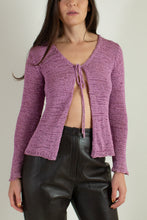 Load image into Gallery viewer, Vintage purple open knit tie front cardigan // S (1781)