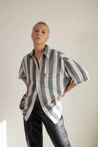 Vintage 90s gray and cream striped linen blend short sleeve shirt // XXL (1620)
