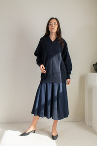 Vintage 80s blue full skirt // S (631)