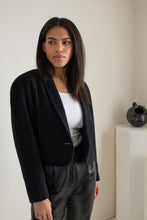 Load image into Gallery viewer, Vintage black wool and cashmere blend cropped jacket // S (1602)