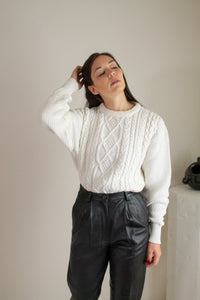 Vintage ivory cotton cable knit sweater // L (1675)