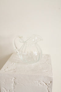 Vintage clear glass short rippled pitcher (D360)