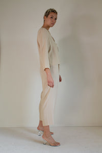Vintage tan silk shirt and pant set // M (1585)