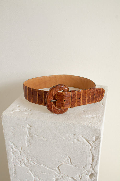 Vintage brown wide leather reptile embossed belt // 26.75-30.75