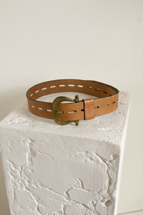 Vintage tan and brass wide leather belt // fits up to a 40