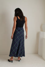 Load image into Gallery viewer, Vintage blue and green linen long plaid skirt // S (1905)