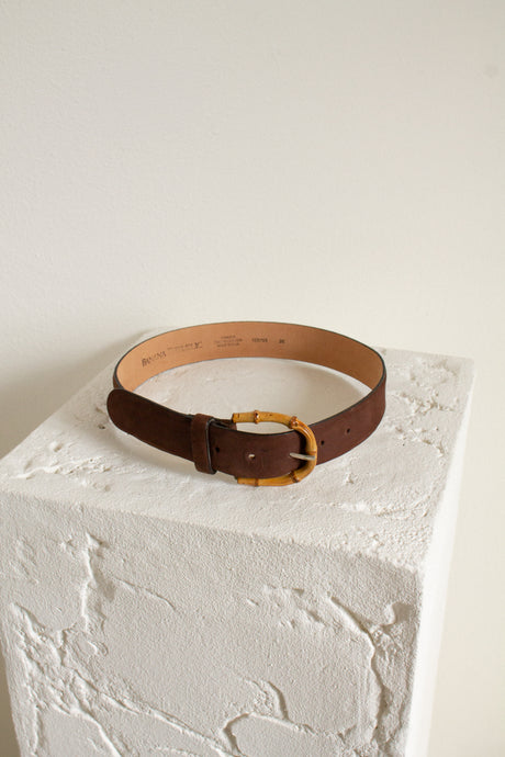 Vintage brown leather and bamboo belt // 23.5-27.5