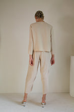 Load image into Gallery viewer, Vintage tan silk shirt and pant set // M (1585)