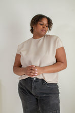 Load image into Gallery viewer, Vintage beige silk short sleeve blouse // XL (1587)