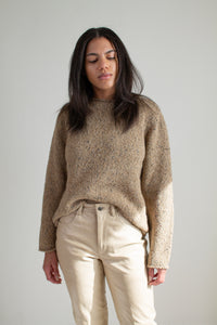 Vintage heather brown roll neck sweater // M (1877)