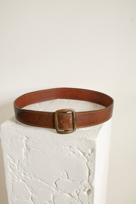 Vintage tawny brown leather belt // 38.25-42.5