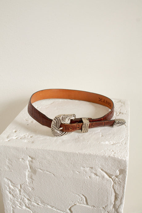 Vintage brown leather horse buckle belt // 27-30