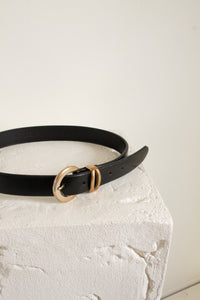 "Vintage black leather and gold belt // 27.5-31.5"" waist  (1740)"