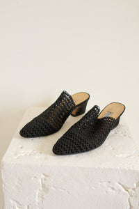 Vintage black crocheted open knit mules // 8 (1974)