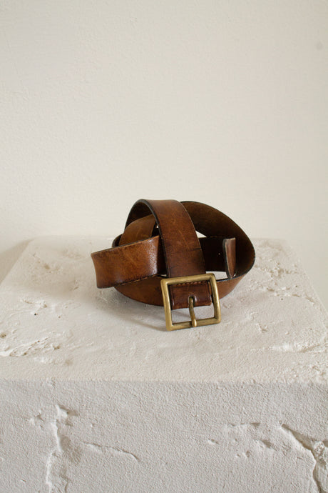 Vintage brown leather and brass square buckle belt // 36.5-41