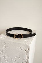 "Load image into Gallery viewer, Vintage black leather and gold belt // 27.5-31.5"" waist  (1740)"