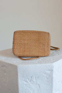 Vintage light tan woven leather rectangle purse // N/A (1598)