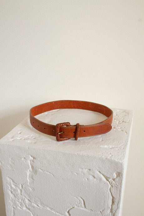 Vintage cognac leather braid detail belt // 22-29