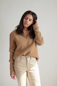 Y2K camel wool and camel hair half zip sweater  // L (2115)