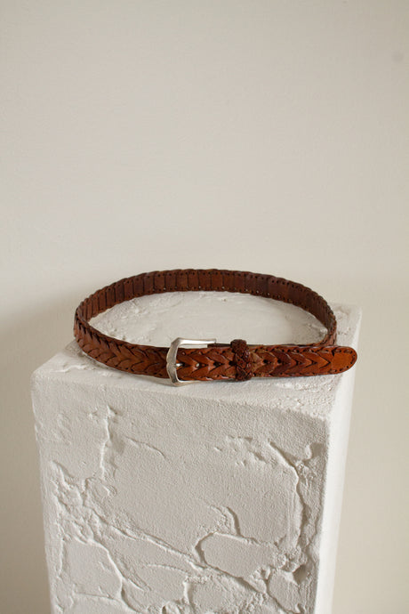Vintage brown braided leather belt // 37.5-41