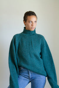 Vintage 90s green wool rollneck sweater // XXL (1113)