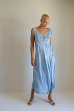 Load image into Gallery viewer, Vintage light blue bias cut long silk slip dress // L (935)
