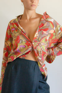 Vintage abstract print oversized silk blouse // M (927)