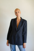 Load image into Gallery viewer, Vintage black linen-blend blazer (deadstock) // L (900)