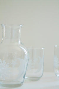 Vintage glass celestial carafe and glasses (D181)