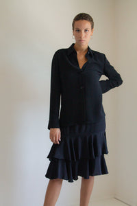 Vintage black minimal button up shirt // S (1097)