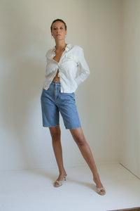 Vintage 90s denim jean shorts // S (736)
