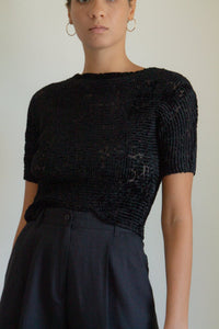 Vintage black micropleat and velvet sheer top // M (1052)