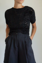 Load image into Gallery viewer, Vintage black micropleat and velvet sheer top // M (1052)