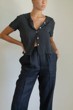 Load image into Gallery viewer, Vintage black and white polka dot sailor collar shirt // L (1140)