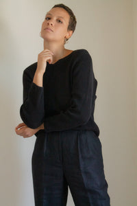 Vintage black cotton ribbed sweater // M (1127)