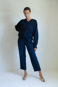 Vintage navy pleated trousers // S (869)