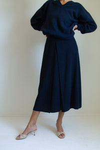Vintage 90s indigo blue long wool-blend skirt // S (1063)