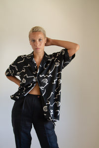 Vintage black and beige abstract silk and cotton button up shirt // L (1265)