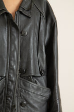 Load image into Gallery viewer, Vintage black leather button front mid-length jacket // XXL (1264)