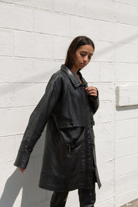 Vintage black leather button front mid-length jacket // XXL (1264)