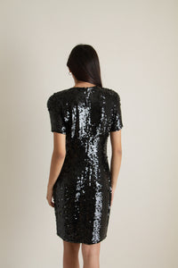 Vintage black beaded silk dress // XS-S (325)