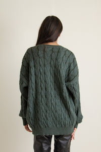 Vintage forest green alpaca wool sweater // XXL+ (1247)