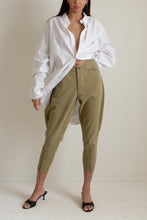 Load image into Gallery viewer, Vintage green Boy Scouts of America lace front flared thigh pants // L (1209)