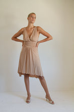 Load image into Gallery viewer, Y2K tan ruched dress // M (348)